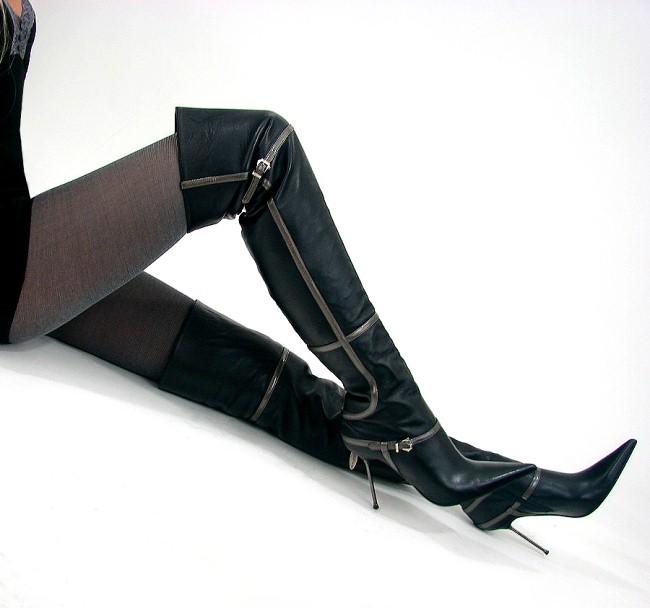 loriblu luxus overknee stiefel leder schwarz 39 ebay. Black Bedroom Furniture Sets. Home Design Ideas